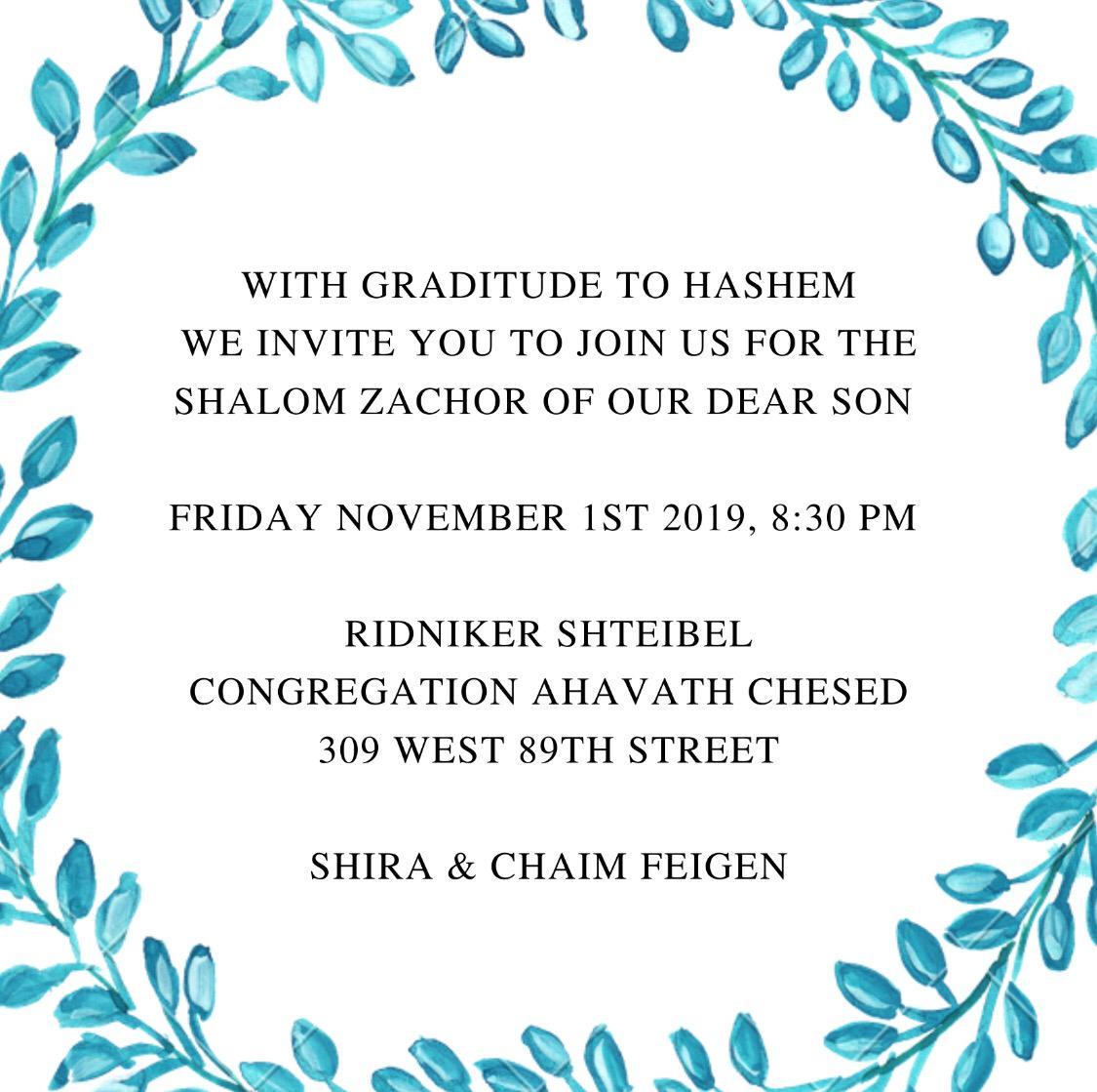 Feigen Shalom Zachor